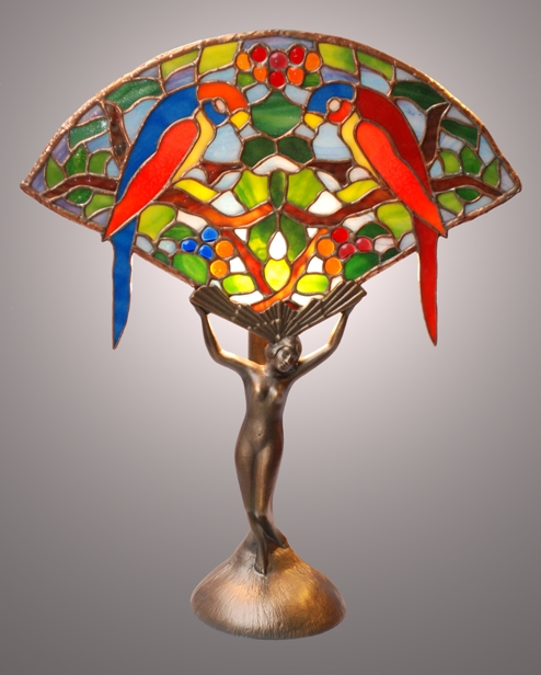 Twin parrots fan lamp on art deco lady base